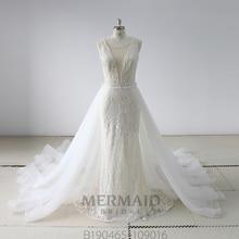 New heavy beading Vestido De Novia Lace 2 In 1 Mermaid Wedding Dress 2020