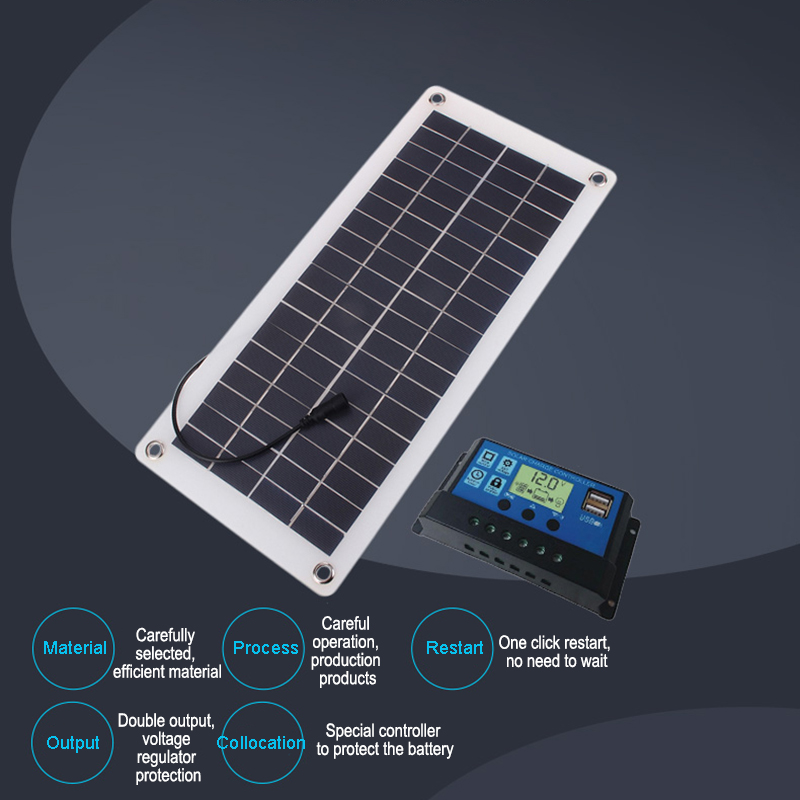 Dual USB Solar Panel Charger For Phone Car Charger Controller Outdoor Camping LED Light Battery Double USB Interface Solar Panel image