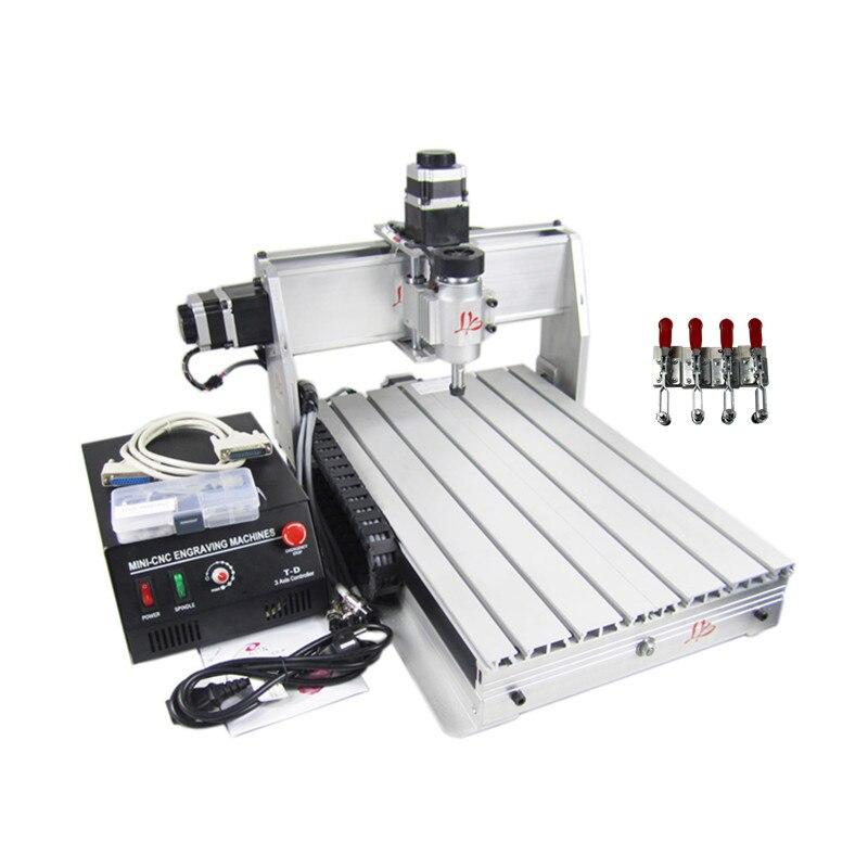 3040 3 axes 4 axes CNC machine de gravure sculpture sur bois CNC routeur graveur 30*40 pcb outil de coupe parallèle USB port 220V 110V