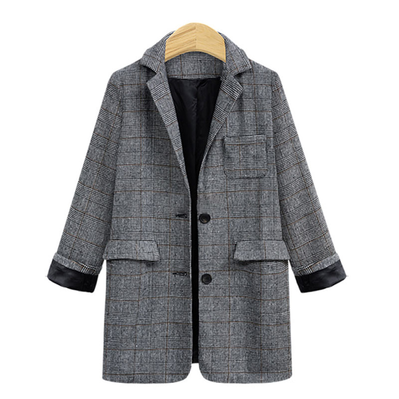 Vintage Plaid Blazer Women's Jacket 2020 Autumn Oversized Long Office blazer feminino Casual Double Breasted Chic Suit Coat