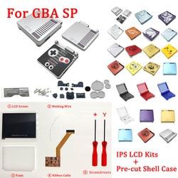 IPS LCD أطقم مع قبل قطع قذيفة ل GBA SP IPS LCD V2 الخلفية الشاشة مع قذيفة ل GBASP وحدة التحكم الإسكان مع أزرار