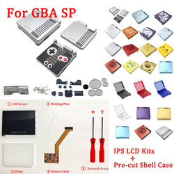 IPS LCD Kits with pre-cut shell for GBA SP IPS LCD V2 Backlight Screen with shell case For GBASP Console Housing With Buttons