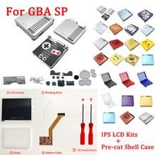 Комплекты ЖК экранов IPS с предварительно вырезанным корпусом для GBA SP IPS LCD V2, чехол с подсветкой для консоли GBASP, корпус с кнопками
