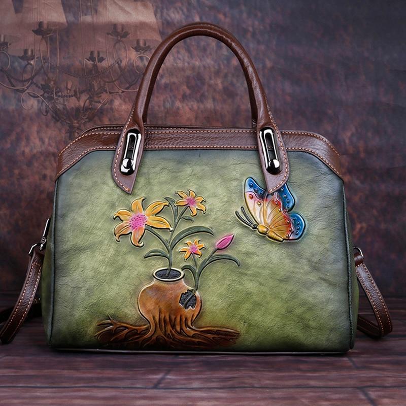 Genuine Embossed Leather Handbag Women High Quality Messenger Shoulder Cross Body Bags Female Luxury Floral Vintage Tote Bag