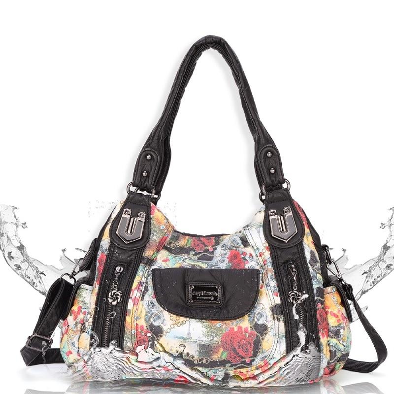 Angel Barcelo Eco-Friendly Washed PU Leather Floral Women Shoulder Bag Lady Handbag Messenger Tote With Adjustable Long Strap