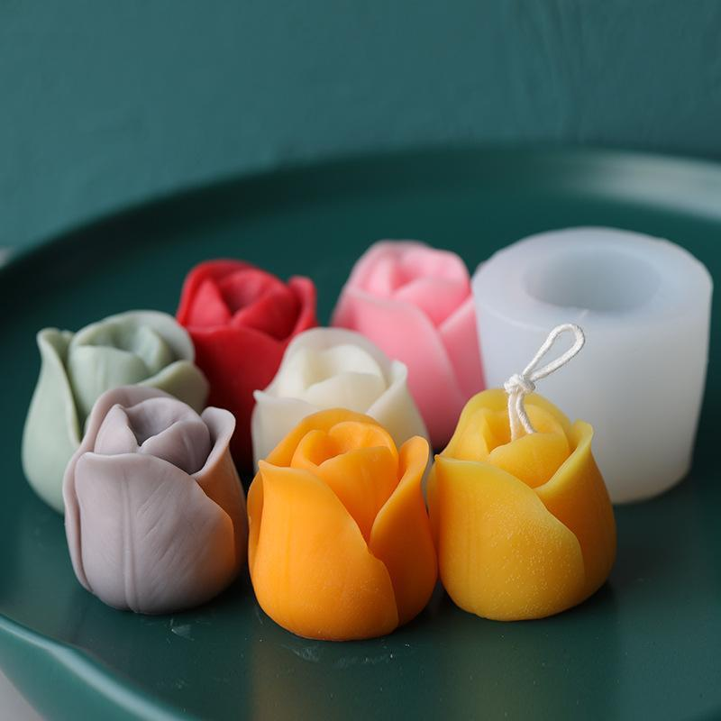 3D Tulip Candle Mold Handmade DIY Aromatherapy Wax Mold Flower Soap Silicone Candle Molds for Candle Making