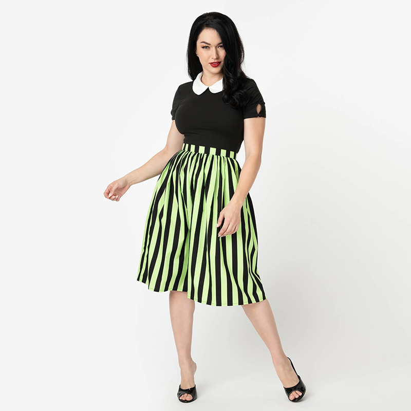 2019 New Women Plated Skirt Striped Mini Strap Knee-Length Skirt Fashion Female Outfit Customized Halloween Party Skirt