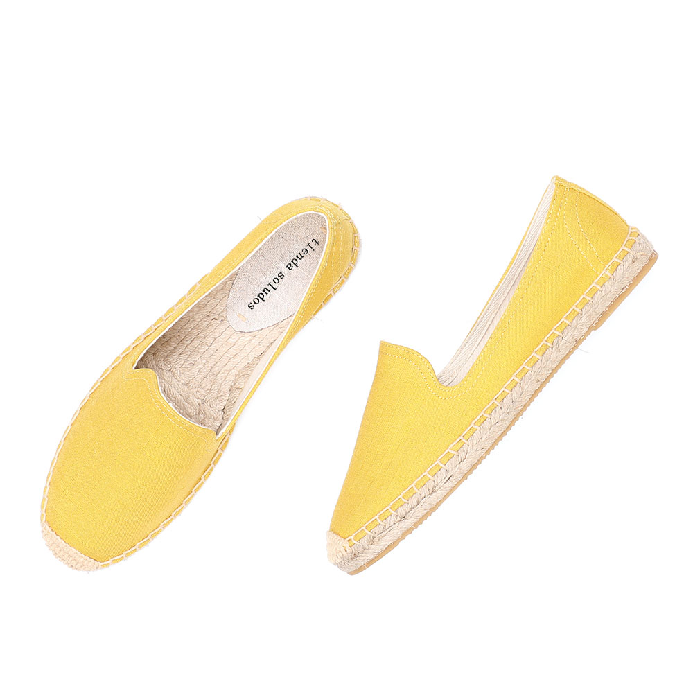 2020 Direct Selling Real Flat Platform Hemp Rubber Slip-on Casual Solid Zapatillas Mujer Sapatos Womens Espadrilles Flat Shoes