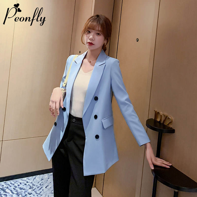 PEONFLY New 2020 Spring Casual Double Breasted Women Jackets Notched Collar Blazer Female Outerwear Elegant Ladies Coat Blue