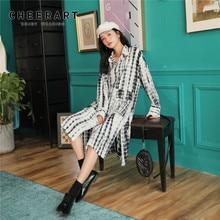 Cheerart Fall 2019 Tie Dye Long Sleeve Shirt Dress Women White Knee Length Loose Dress Autumn Clothing long sleeve tie dye dress