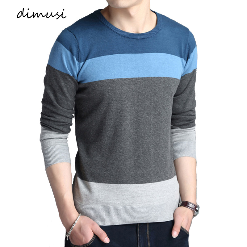 DIMUSI Autumn Men Sweater Casual O-Neck Solid Striped Turtleneck Shirt Sweaters Men Slim Fit Wool Knitted Pullovers Clothing