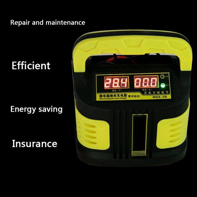 Universal Auto Motorrad 12 V/24 V Schnelle Lade Auto Batterie Ladegerät Intelligente Reparatur Batterie Ladegerät LCD Display