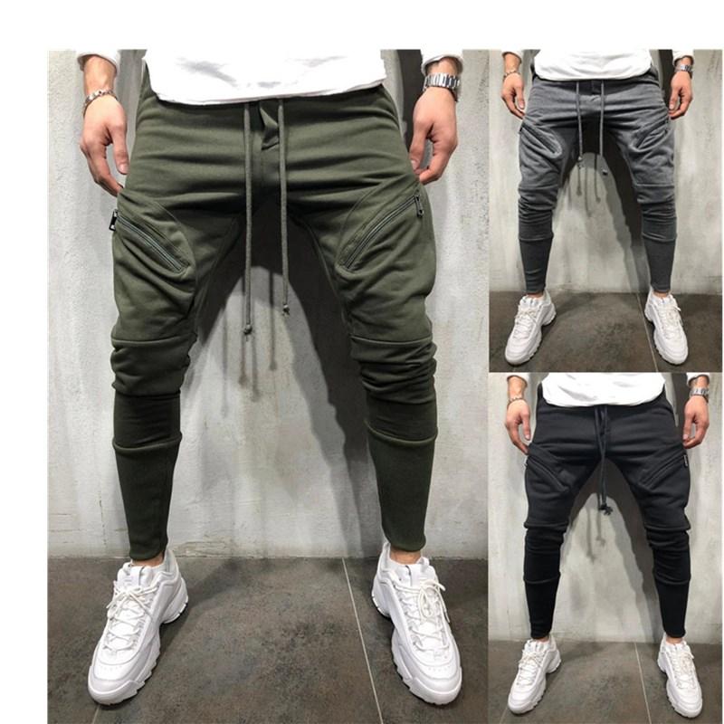 Men Business Casual Cotton Slim Straight Trousers Spring Summer Long Pants Multi-pocket Hip-hop Zip-up Jogging Sweatpants