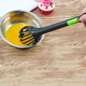 Multifunctional Egg Beater Nylon Food Tongs Manual Egg Whisk Pasta Spaghetti Spoon Kitchen Gadget Mixer Creative Salad Tools