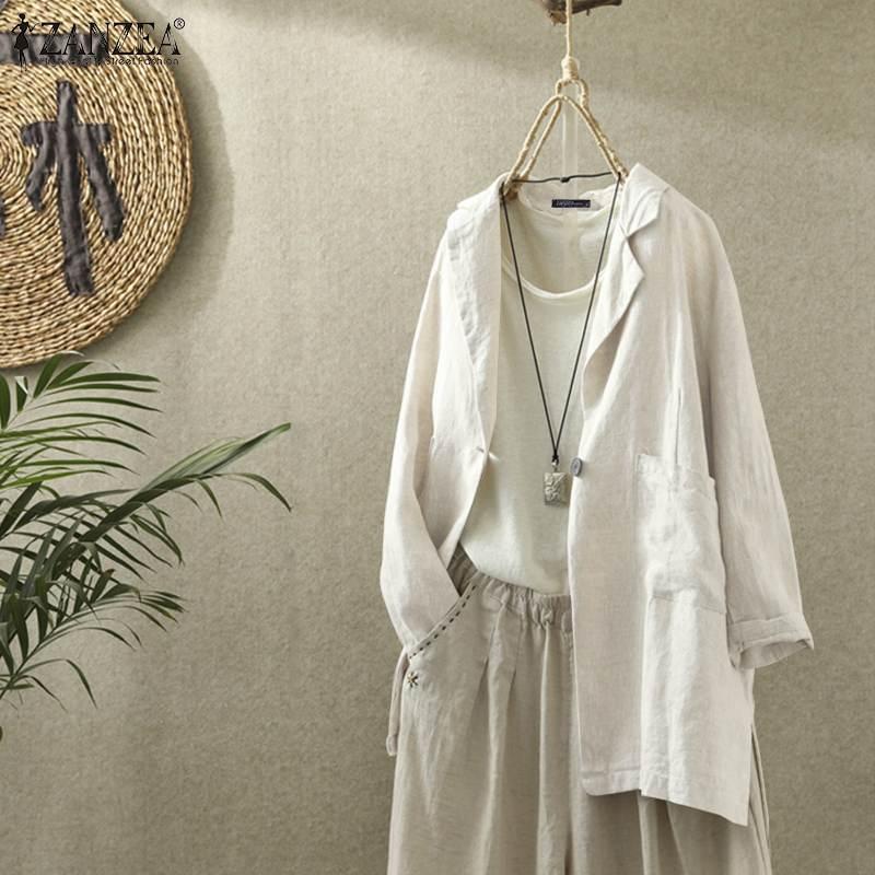2020 Plus Size ZANZEA Autumn Blazer Women Casual Solid Long Sleeve Work OL Cotton Coat Blazers Jackets Female Outwear Cardigans