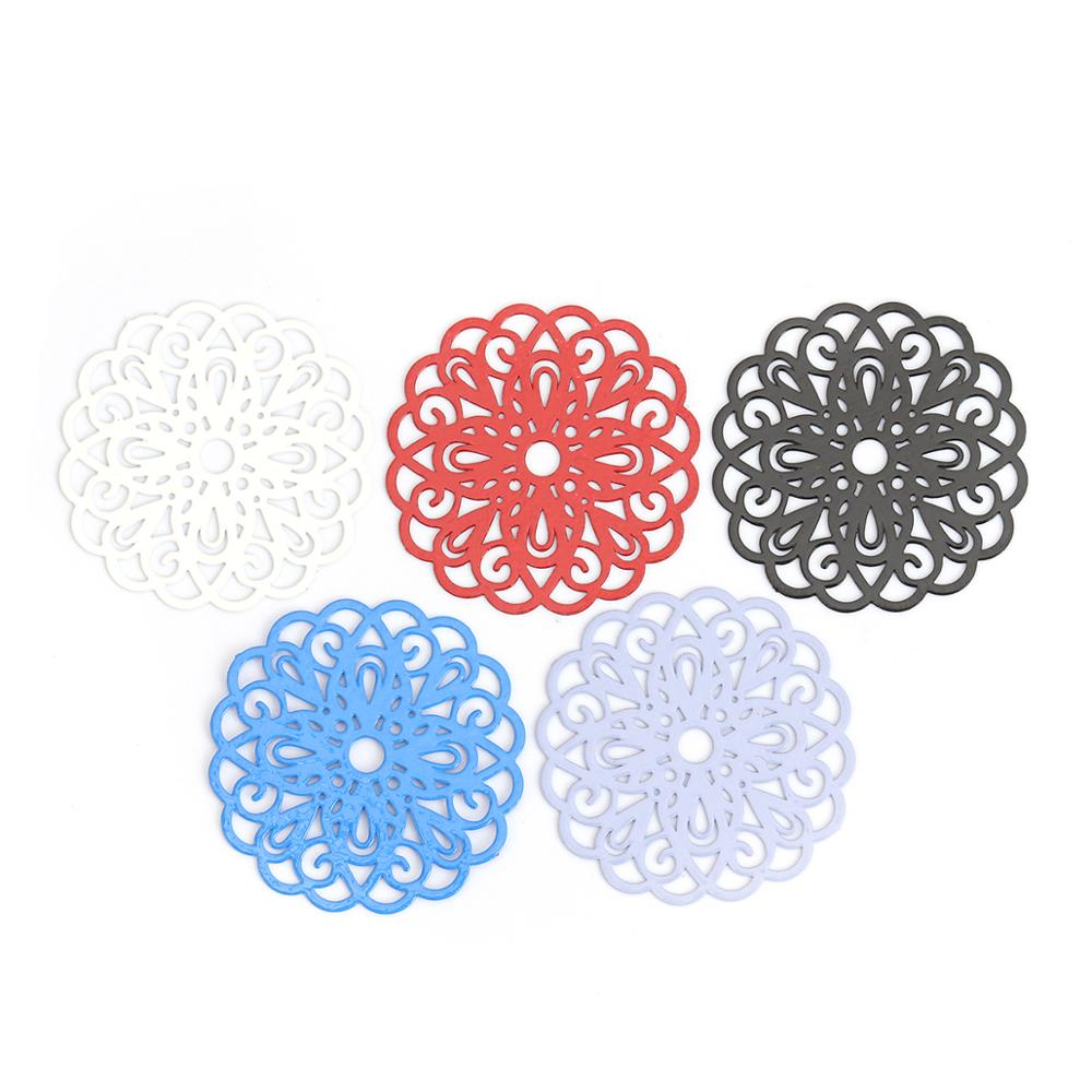 DoreenBeads Fashion Copper Connectors Flower Blue Black Red White Violet Filigree Jewelry DIY Findings 25mm X 25mm, 10 PCs