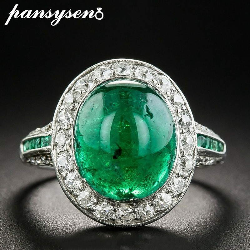 PANSYSEN Vintage Emerald Rings For Women Real 925 Sterling Silver Jewelry Wedding Bands Anniversary Ring Christmas Party Gifts