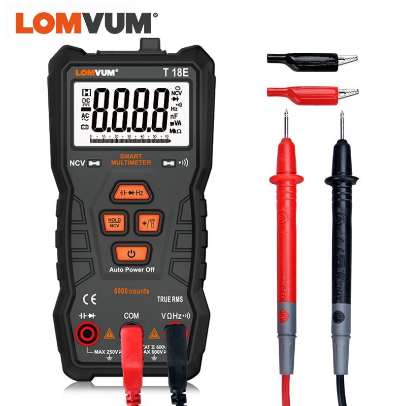 LOMVUM prawdziwej wartości skutecznej 6000 liczy multimetr wysoka precyzja cyfrowy multimetr NCV inteligentny multimetr Auto począwszy AC/DC latarka