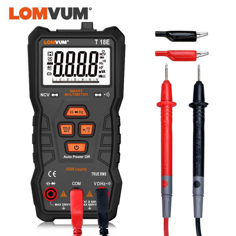Lomvum true rms 멀티 미터 6000, 고정밀 디지털 멀티 미터 ncv 스마트 멀티 미터 자동 범위 설정 ac/dc 손전등