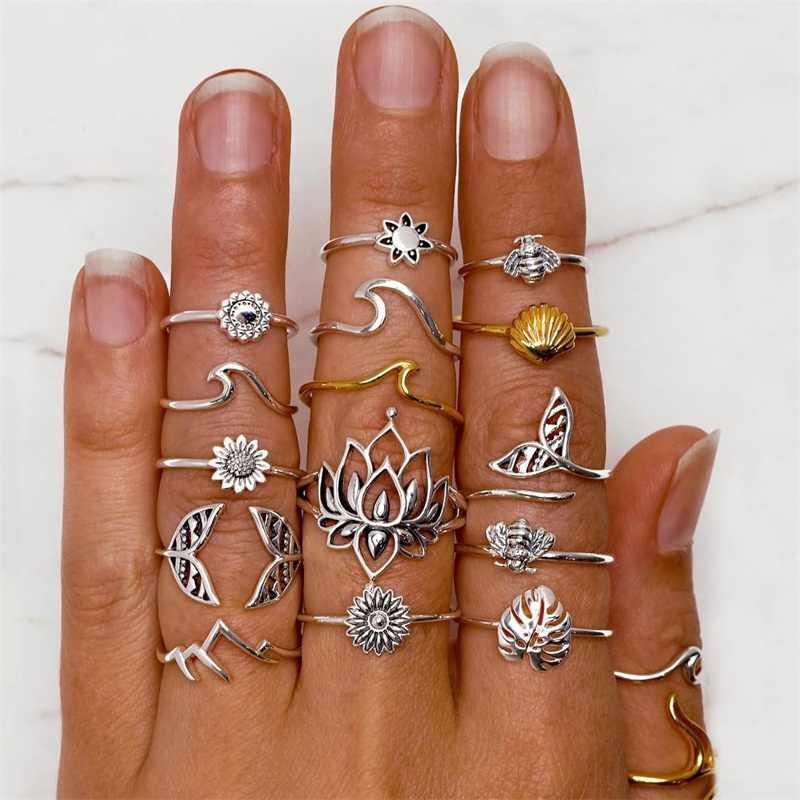 15 יח'\סט Boho דבורת פרח עלה טבעת סט נשים אופנה גל מעטפת Fishtail סדיר טבעת נשי אישיות תכשיטי אבזרים