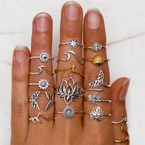 15Pcs/Set Boho Bee Flower Leaf Ring Set Women Fashion Wave Shell Fishtail Irregular Ring Female Personality Jewelry Accessories(China)