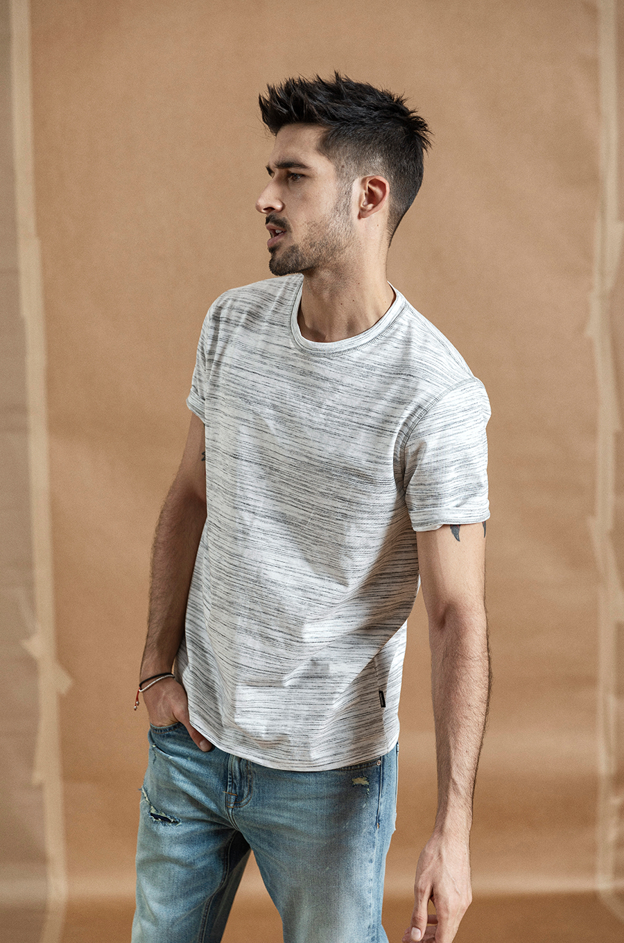 SIMWOOD 2020 summer new Mélange striped t-shirt men o-neck t shirt high quality plus size brand clothing o-neck tops 190432