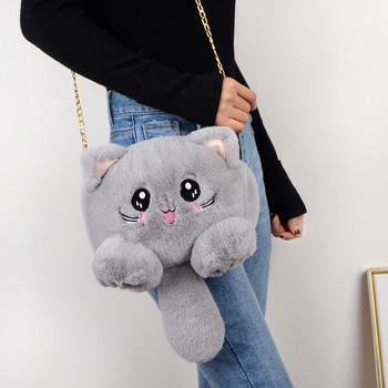 2020 new fashion plush bag women animal cat phone female