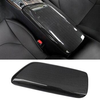 CITALL Carbon Fiber Style ABS Car Interior Center Armrest Storage Box Trim Cover fit for Toyota Camry 2018 2019