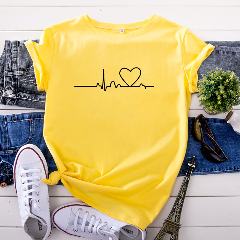 Circuit heart pattern print T-<font><b>Shirt</b></font> Women's New Summer Casual <font><b>Red</b></font> <font><b>wine</b></font> Pink O-Neck Short Sleeve Hip Hop Tee <font><b>Shirt</b></font> Harajuku S-5XL image