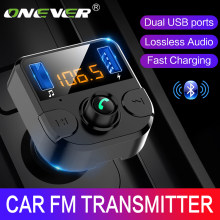 Onever Car Fm Transmitter LCD MP3 Player Wireless Bluetooth Receiving Car Kit 3.1A fast USB Hands Free USB Charger FM Modulator(China)