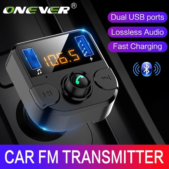 Onever samochodowy nadajnik Fm LCD odtwarzacz MP3 bezprzewodowy zestaw odbiorczy Bluetooth 3.1A szybki USB bezprzewodowy USB ładowarka Modulator FM