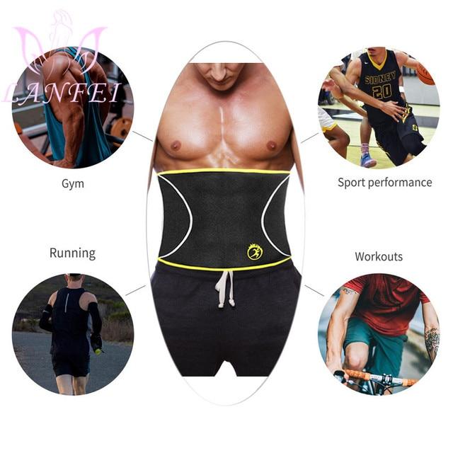 LANFEI Men Waist Trainer Belt Body Shaper Belly Wrap Neoprene Sauna Slimming Sweat Shapewear Workout Fitness Weight Loss Corset 3