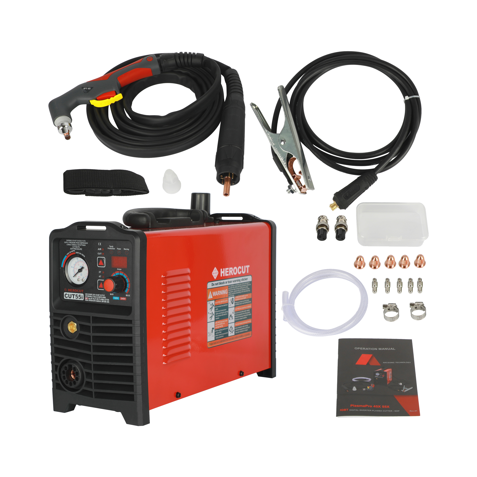 CNC IGBT Cut55i LCD Blow-back Non-HF Pilot Arc Plasma Cutting Machine Voltage 120V/240V, Plasma Cutter CNC