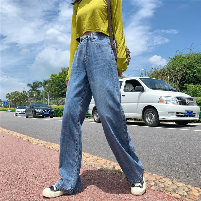 S-XL 2019 autumn korean chic style women denim Pants Casual blue high waist jeans for women straight long pants (Z8713)