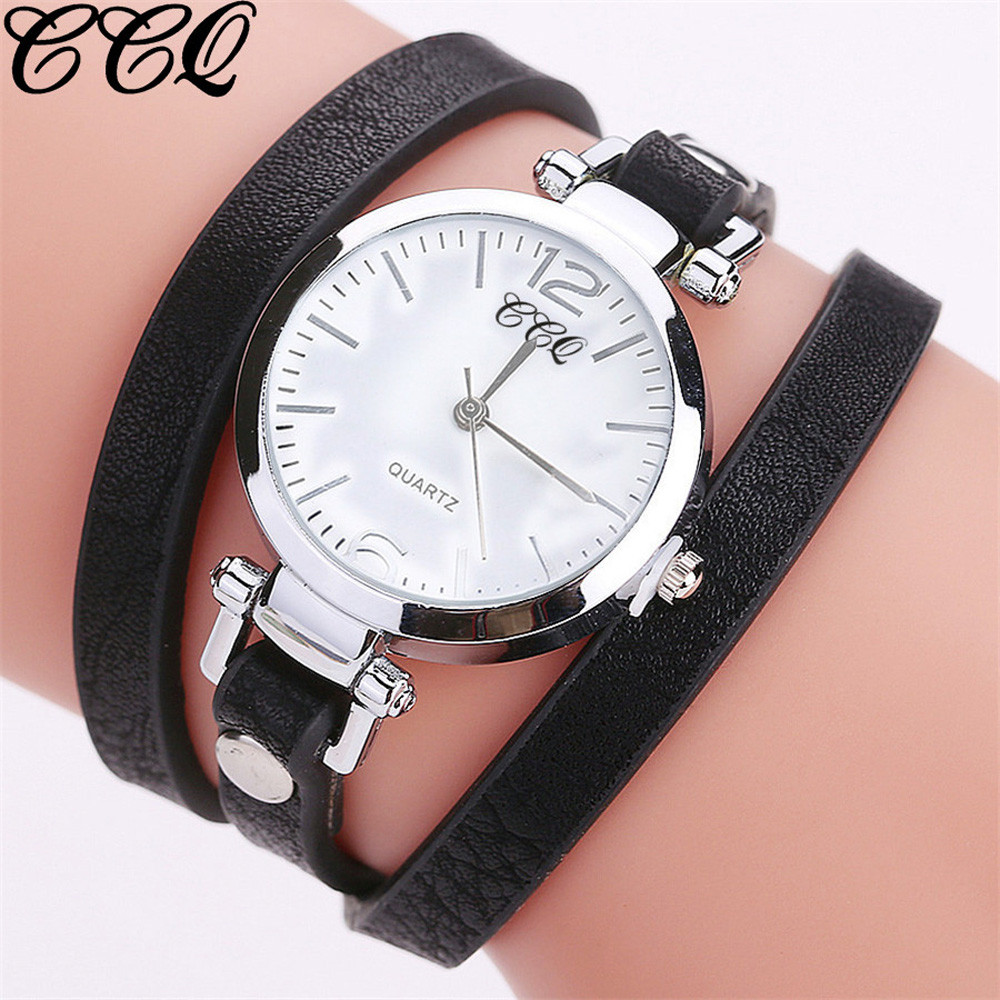 CCQ Women Fashion Casual Analog Quartz Women Leather Watch Bracelet Watch Female Watches Gifts For Woman Casual Dress Clock