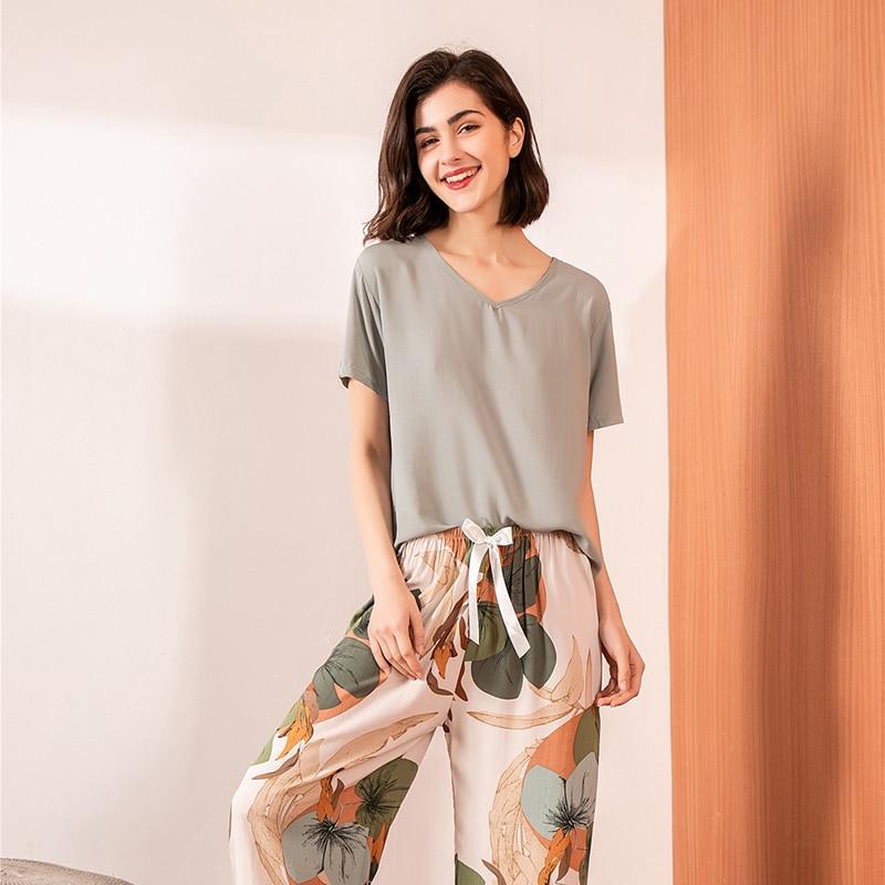 JULY'S SMTWB Floral Printed 2 Pieces Pajamas Sleepwear Female V-neck Short Sleeve Elastic Waist Nightwear Women's Pajamas Set