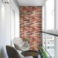 Faux Brick Printed Wallpaper Red Brown Brick Wallpaper Self Adhesive Wallpaper DIY Removable Waterproof Stick Paper