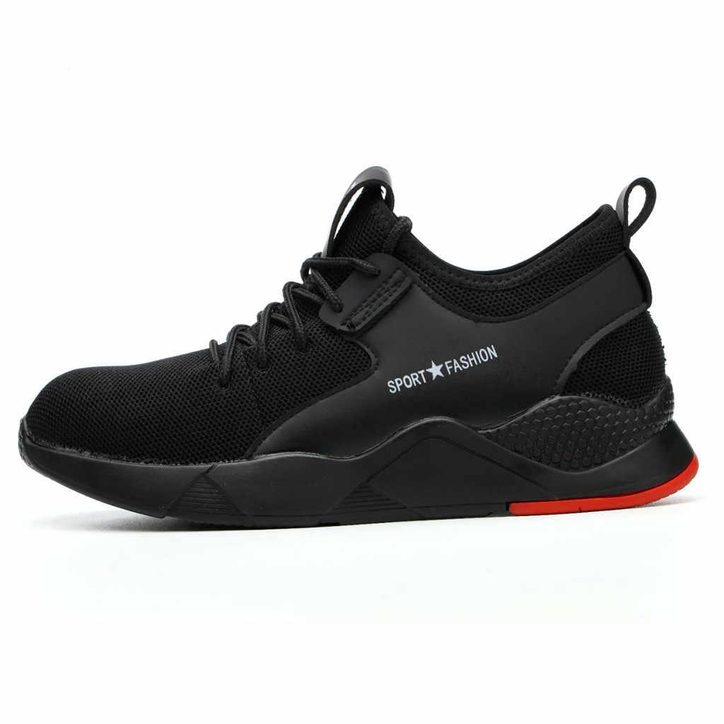 sport shoes men sneakers men running shoes Mens Women Work Steel Toe Caps Hiking Walking Running Sneakers Safety Shoes