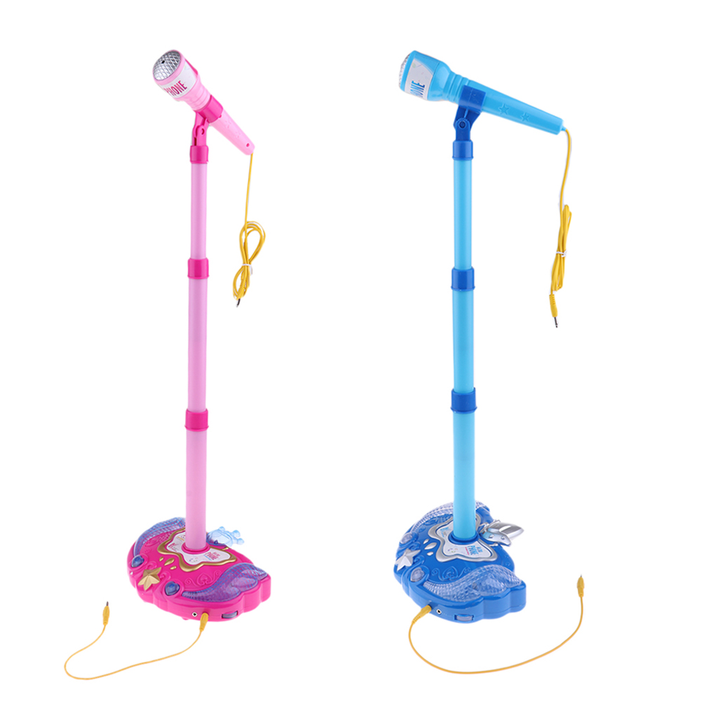 2Pieces Kids Karaoke Machine,Music Toy Play Set with Microphone and Adjustable Stand for Boys Girls 3+