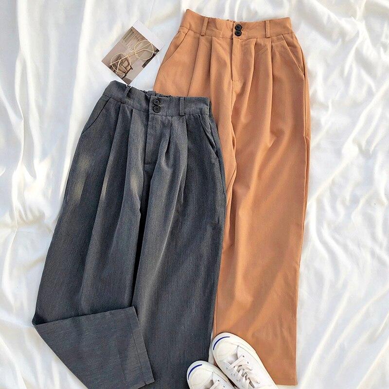 Spring Basics Suit Pant Women Casual Solid High Waist Khaki Gray Wide Leg Long Trouser Female Formal Fashion Bottoms