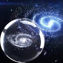 6CM 8CM Laser Gravierte Solar System Ball 3D Kristall Ball Miniatur Planeten Modell Kugel Glaskugel Ornament Hause decor Geschenk JQ