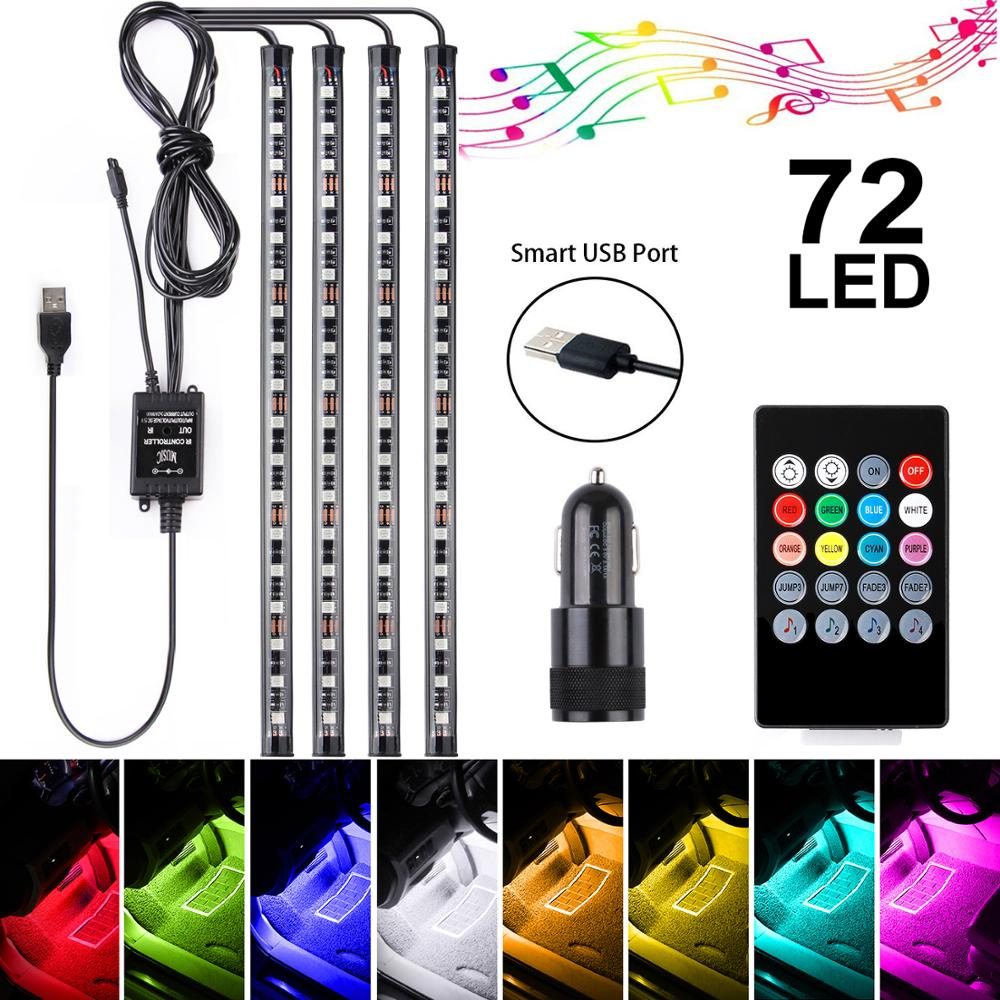 Car LED RGB Strip Lights 4Pack 5V Addressable Smart Multicolor Music Atmosphere Light 72LEDs Car Interior Lamp With Remote
