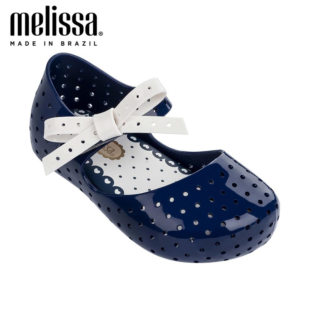 Mini Melissa Jelly Shoes Furadinha X Princess Girl Bow Sandals 2020 NEW Baby Shoes Melissa Sandals  Kids Non-slip  Zandalias