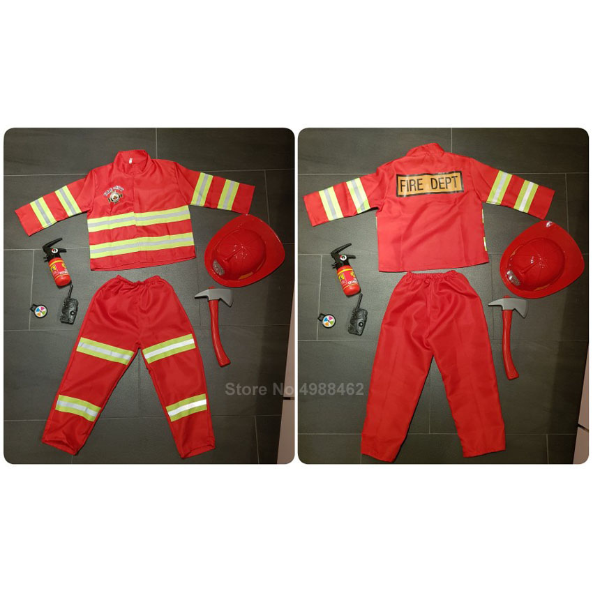 Red Fireman Sam Firefighter Cosplay Costume For Kids Boys Girls Halloween Christmas Birthday Gift Fire Dept Uniform Clothing