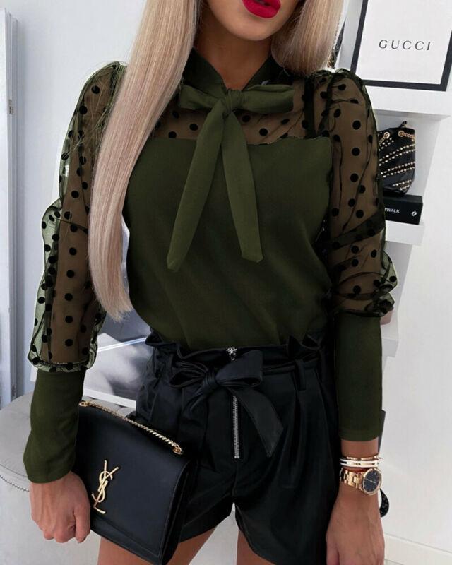 Women's Sheer Mesh See-through Blouse 2020 New Fashion Elegant Slim Polka Dot Puff Long Sleeve Tops Shirt Bow Tie Blouse