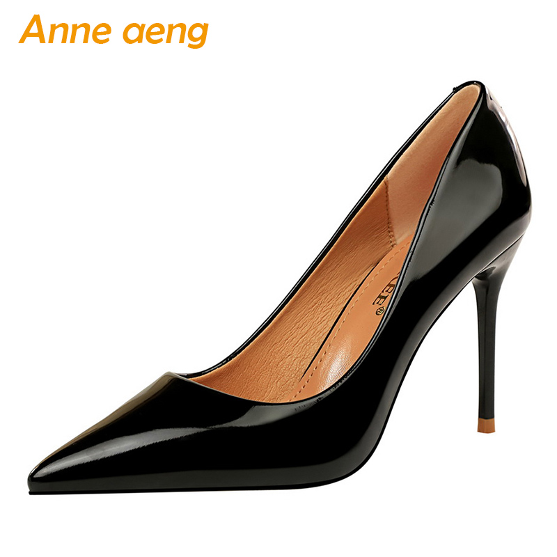 2019 New Women Pumps 9.5cm High Thin Heel Pointed Toe Solid Shallow Fashion Sexy Ladies Women Shoes Black Female High Heel Pumps