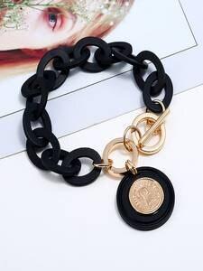 Bracelet Jewelry Link-Chain Boho Acrylic Gold Black Femme Women Pulseras Head for Mujer