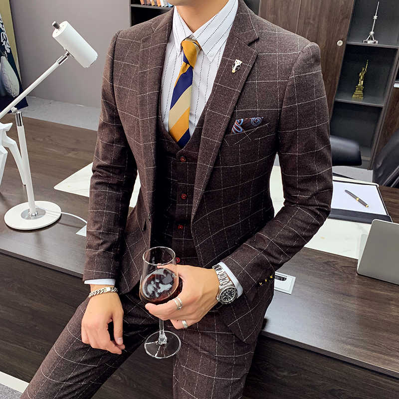 New Design Fashion Plaid Dress Formal Men S Suits 2020 Luxury Men S Slim Wedding Dress Costume Homme 3 Piece 2 Piece Set M 4xl Suits Aliexpress