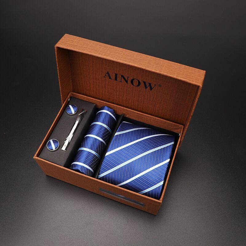 Набор галстуков 4 шт. мужской цветочный галстук для шеи клетчатый галстук подарок свадебный красный полосатый 8 см темно-синий жаккардовый тканый черный однотонный Камуфляжный ящик - Цвет: NO box 03