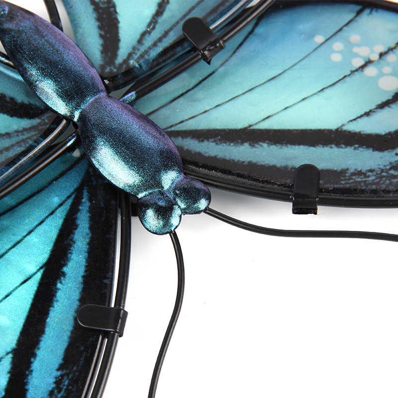 Decoração de parede de borboleta de metal azul para decoração de casa e jardim miniaturas animais estátuas e esculturas ao ar livre para quintal